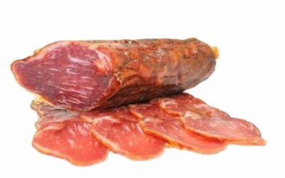 Lomo ibérico (Iberische Schweinelende) mariniert, geschnitten, rotes Etikett, aus Guijuelo, Salamanca, Spanien